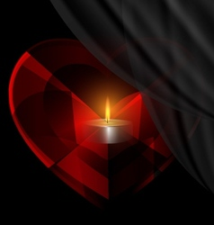 heart-crystal and candle vector image vector image