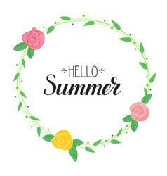 Hello summer handwritten text and picture vector