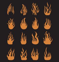 icons fire flames vector image
