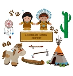 Indian symbols set cartoon characters of American vector