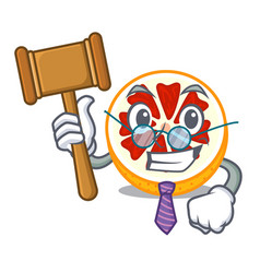 Judge grapefruit in a mascot wooden bowl vector
