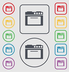 kitchen stove icon sign symbol on the Round and vector image