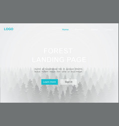 landing page forest in fog realistic background vector image