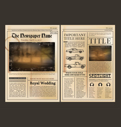 Layout design front page of vintage newspaper vector