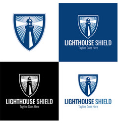 Lighthouse shield icon and logo vector
