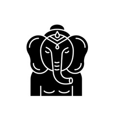 Lord ganesha black glyph icon vector