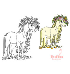 Magical unicorn in a magnificent wreath roses vector