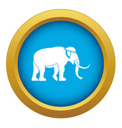 Mammoth icon blue isolated vector