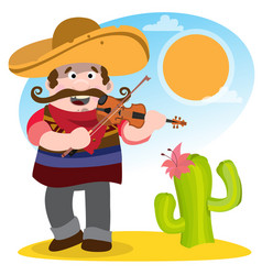mexican mariachi in sombrero and with a violin vector image