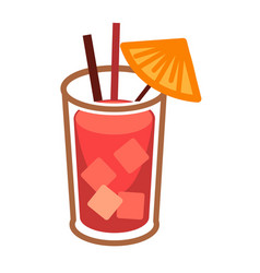 Modern cocktail bloody mary with ice cubes in vector