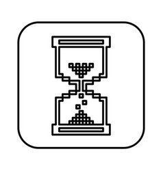 Monochrome contour square with hourglass icon vector