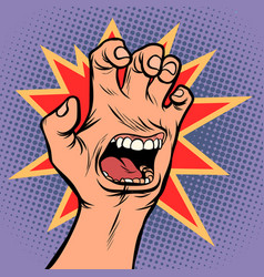 mouth emotion anger hand scratch gesture vector image