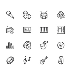 music element black icon set on white background vector image