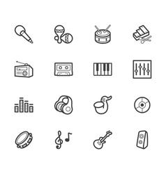 Music element black icon set on white background vector