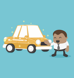 New a car is yellow of african businessman happy vector