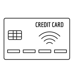 nfc credit card icon outline style vector image