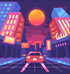 night neon city street 1980s style vector image