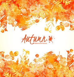 Orange watercolor leaves vector