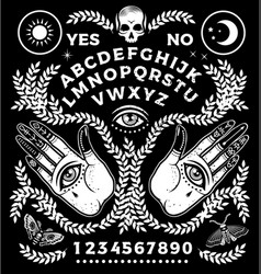 Ouija board with hands occultism set vector