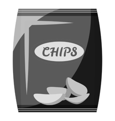 Packing with chips icon gray monochrome style vector image