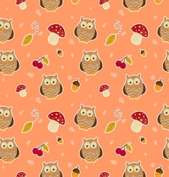 Pattern with owls vector