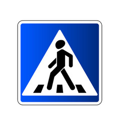 pedestrian crossing sign traffic road blue sign vector image