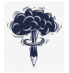 Pencil with nuclear explosion mushroom shape vector