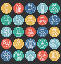 Person icons set on color circles black background vector