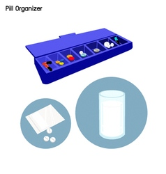 Pill organizer for each day the week vector