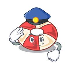 Police swim tube character cartoon vector
