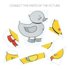 Puzzle game for chldren duck vector