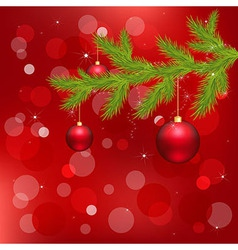 Red christmas background with christmas ball vector