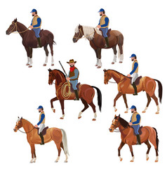 Riders on horsebacks set vector