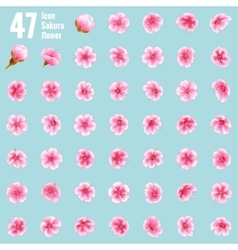 Sakura cherry icon set of 47 flower EPS 10 vector