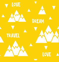Seamless pattern made of mountains words vector