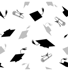 Seamless Pattern with Graduation Caps vector image