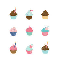 Set cute cupcakes and muffins delicious vector