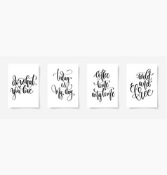 set of four calligraphy posters on a white sheet vector image