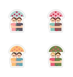 Set of paper stickers on white background lovers vector