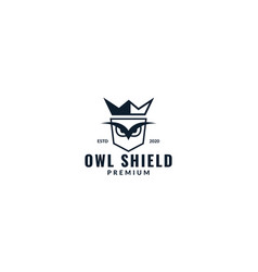 Shield or security or guard with head owl logo vector