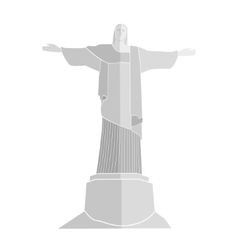 silhouette of Statue Of Christ in Rio De Janeiro vector image