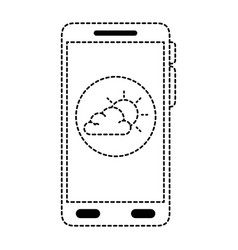smartphone with partly cloudy weather application vector image