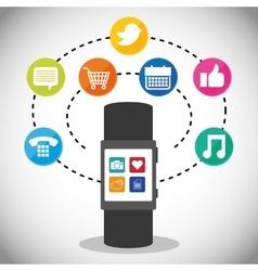 smartwatch display applications media social vector image