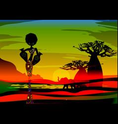 Sunset landscape forest baobab trees savannah vector