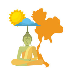 Thailand buddha map sun cloud vector