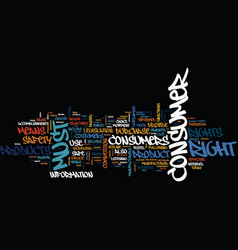 The consumer rights text background word cloud vector