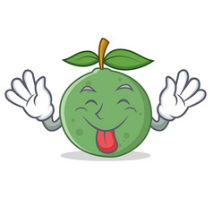 Tongue out guava mascot cartoon style vector