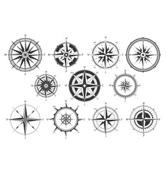 vintage compass nautical map directions vector image