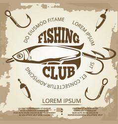 vintage grunge fishing poster vector image