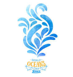 world oceans day water waves abstract watercolor vector image